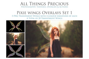 20 Png TRANSPARENT PIXIE Fairy WING Overlays Set 1