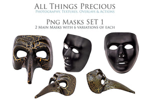 Masquerade Ball MASKS Set 1 Digital Overlays for Photoshop