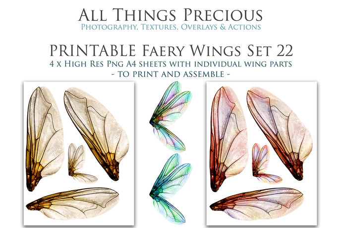 PRINTABLE FAIRY WINGS for Art Dolls - Set 22