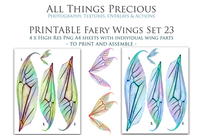 PRINTABLE FAIRY WINGS for Art Dolls - Set 23