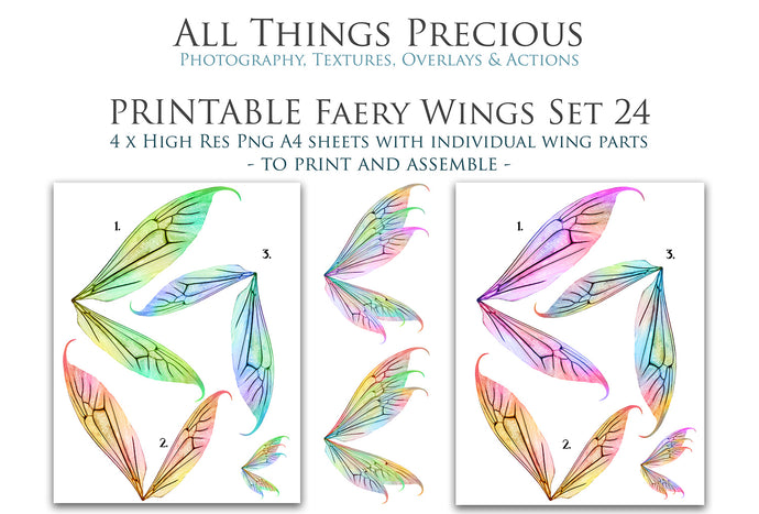 PRINTABLE FAIRY WINGS for Art Dolls - Set 24