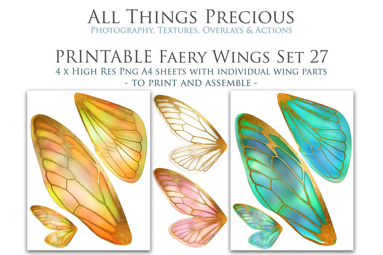 PRINTABLE FAIRY WINGS for Art Dolls - Set 27