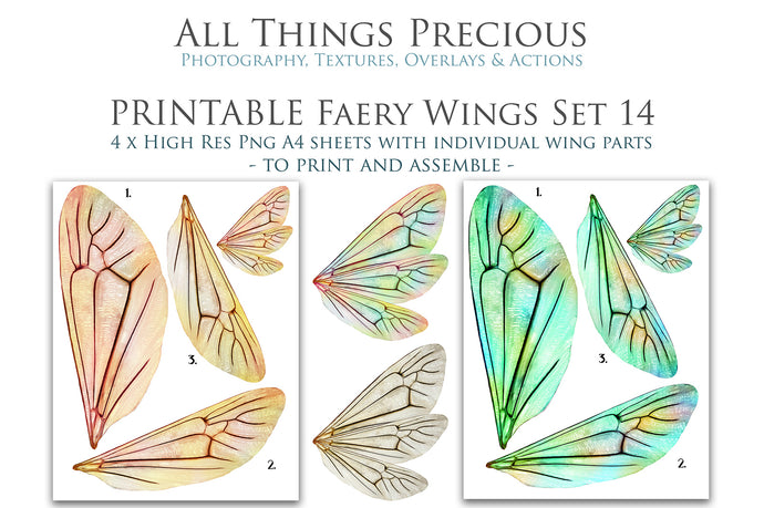 PRINTABLE FAIRY WINGS for Art Dolls - Set 14