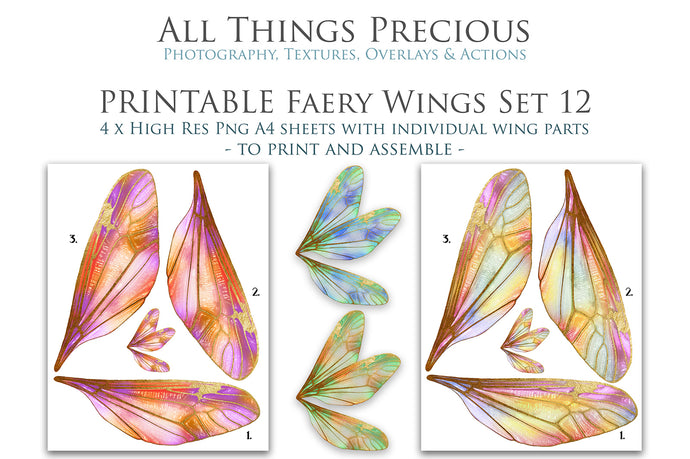 PRINTABLE FAIRY WINGS for Art Dolls - Set 12