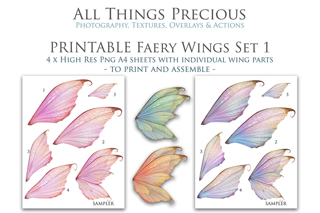 PRINTABLE FAIRY WINGS for Art Dolls - Set 1