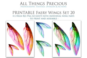 PRINTABLE FAIRY WINGS for Art Dolls - Set 20