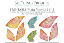 Load image into Gallery viewer, PRINTABLE FAIRY WINGS for Art Dolls - Set 2
