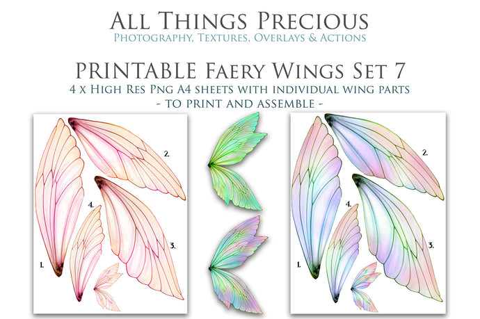 PRINTABLE FAIRY WINGS for Art Dolls - Set 7