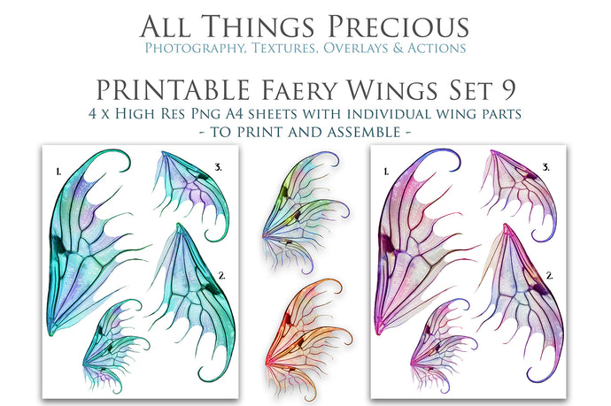 PRINTABLE FAIRY WINGS for Art Dolls - Set 9