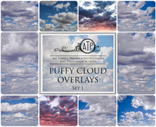 Load image into Gallery viewer, 10 PUFFY CLOUD SKY Overlays SET 1