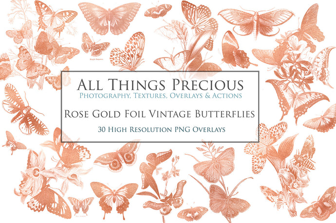 ROSE GOLD FOIL VINTAGE BUTTERFLIES - Clipart