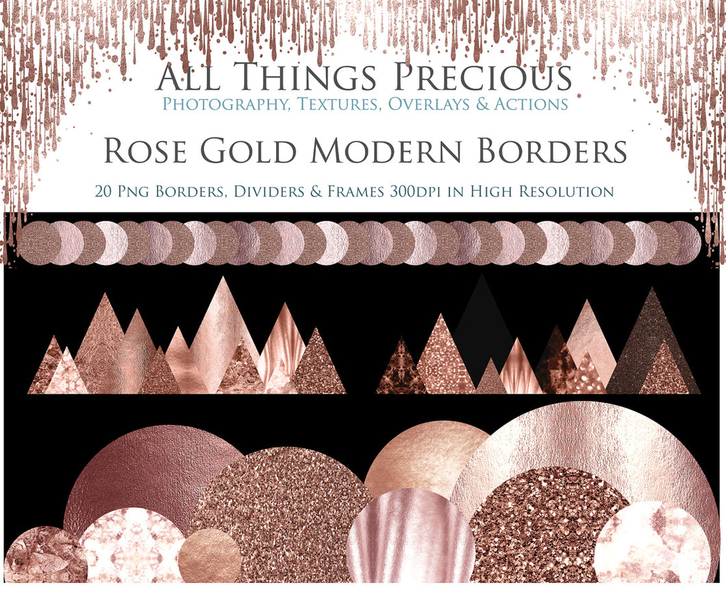 MODERN ROSE GOLD BORDERS - Clipart
