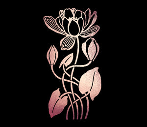 ART NOUVEAU ROSE GOLD FLOWERS - Clipart