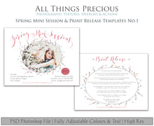 Load image into Gallery viewer, SPRING MINI SESSION & PRINT RELEASE - PSD Template No. 1