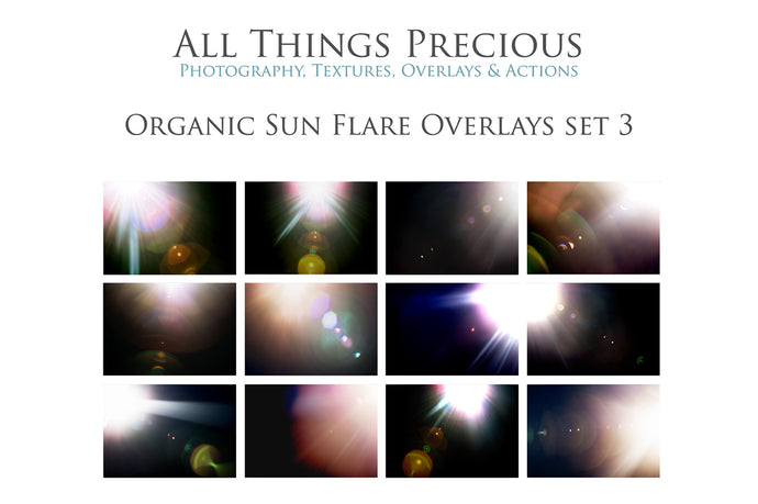 ORGANIC SUN FLARE Digital Overlays Set 3