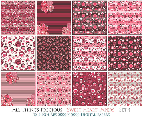 SWEET HEART Digital Papers Set 4
