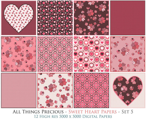 SWEET HEART Digital Papers Set 5