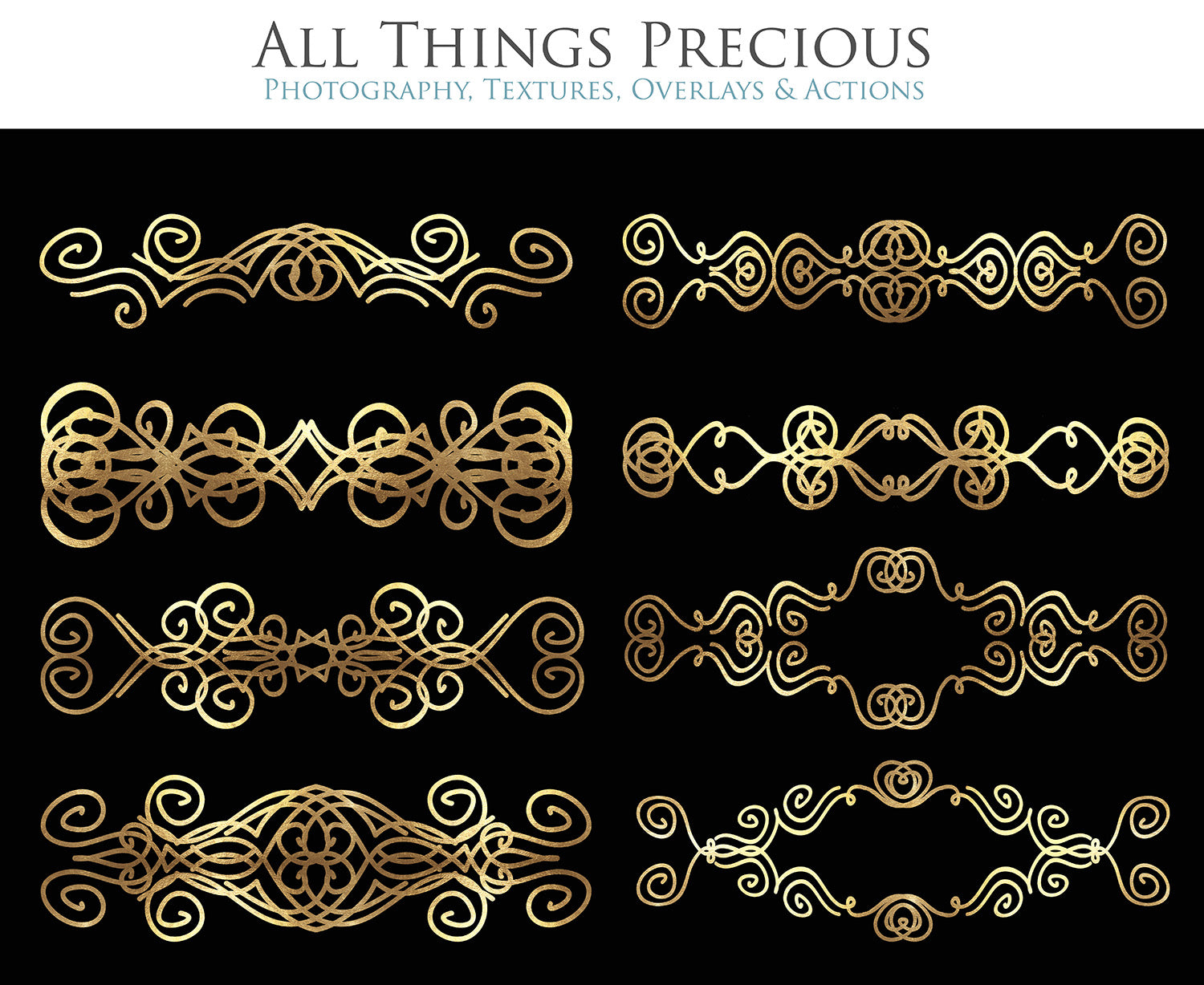 SWIRLY GOLD BORDERS set 2 - Clipart