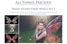 Load image into Gallery viewer, 20 FAIRY WING Overlays - SILVER GILDED & COLOURED - Png Overlays Set 2
