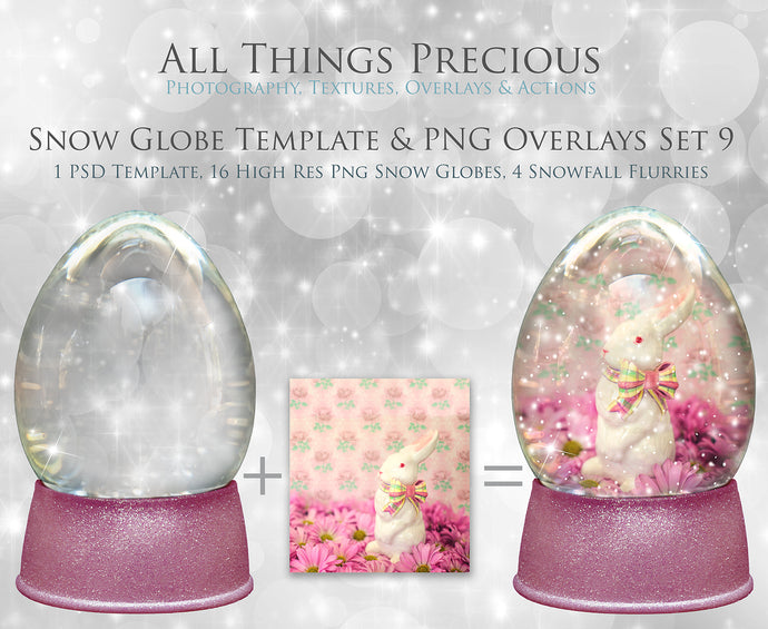 SNOW GLOBE Png Overlays and PSD Template No.9