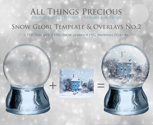 SNOW GLOBE Png Digital Overlays and PSD Template No.2