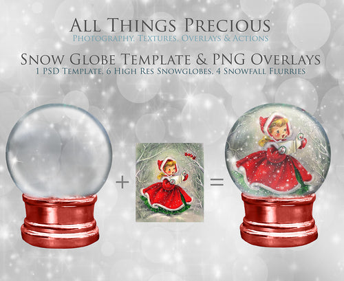 SNOW GLOBE Png Digital Overlays and PSD Template No.1