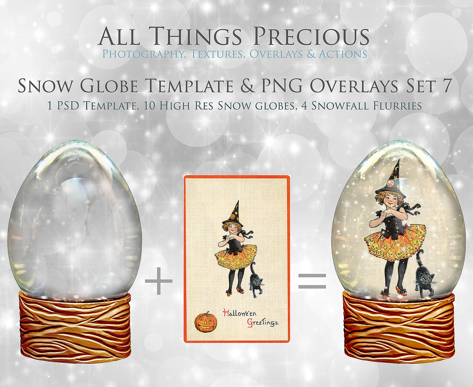 SNOW GLOBE Png Digital Overlays and PSD Template No.7