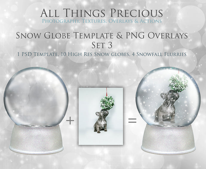 SNOW GLOBE Png Overlays and PSD Template No.3