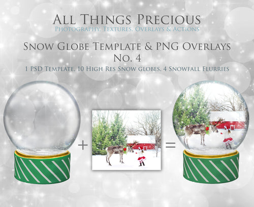 SNOW GLOBE Png Digital Overlays and PSD Template No.4