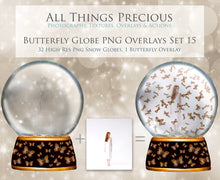 Load image into Gallery viewer, BUTTERFLY SNOW GLOBE Png Digital Overlays