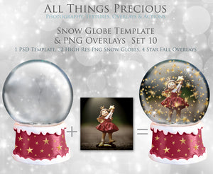 SNOW GLOBE Png Digital Overlays and PSD Template No.10