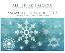 Load image into Gallery viewer, SNOWFLAKE PHOTOSHOP BRUSHES With Clipart - Set 3