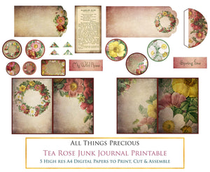 TEA ROSE Printable JUNK JOURNAL - Digital Scrapbooking