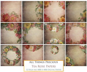TEA ROSE Digital Papers