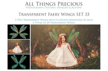 Load image into Gallery viewer, 20 Png TRANSPARENT FAIRY WING Overlays Set 33
