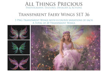 Load image into Gallery viewer, 20 Png TRANSPARENT FAIRY WING Overlays Set 36