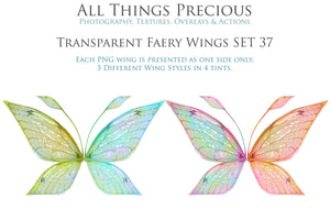 20 Png TRANSPARENT FAIRY WING Overlays Set 37