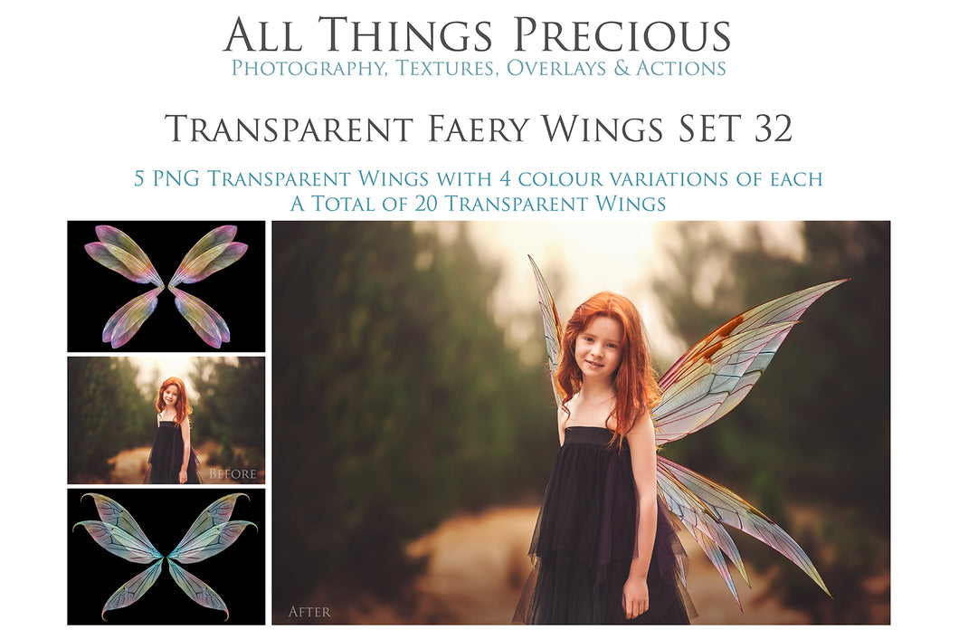 20 Png TRANSPARENT FAIRY WING Overlays Set 32