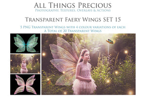 20 Png TRANSPARENT FAIRY WING Overlays  Set 15