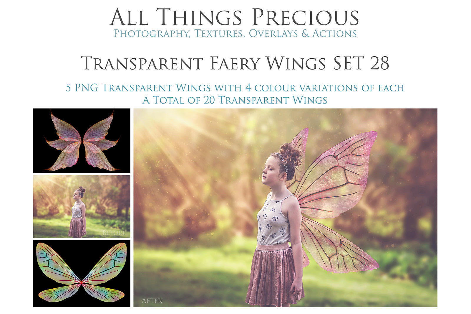 20 Png TRANSPARENT FAIRY WING Overlays Set 28