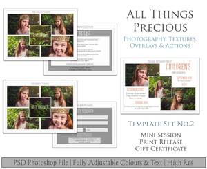 Template Set No.2  GIFT Certificate / MINI Session / PRINT Release BUNDLE