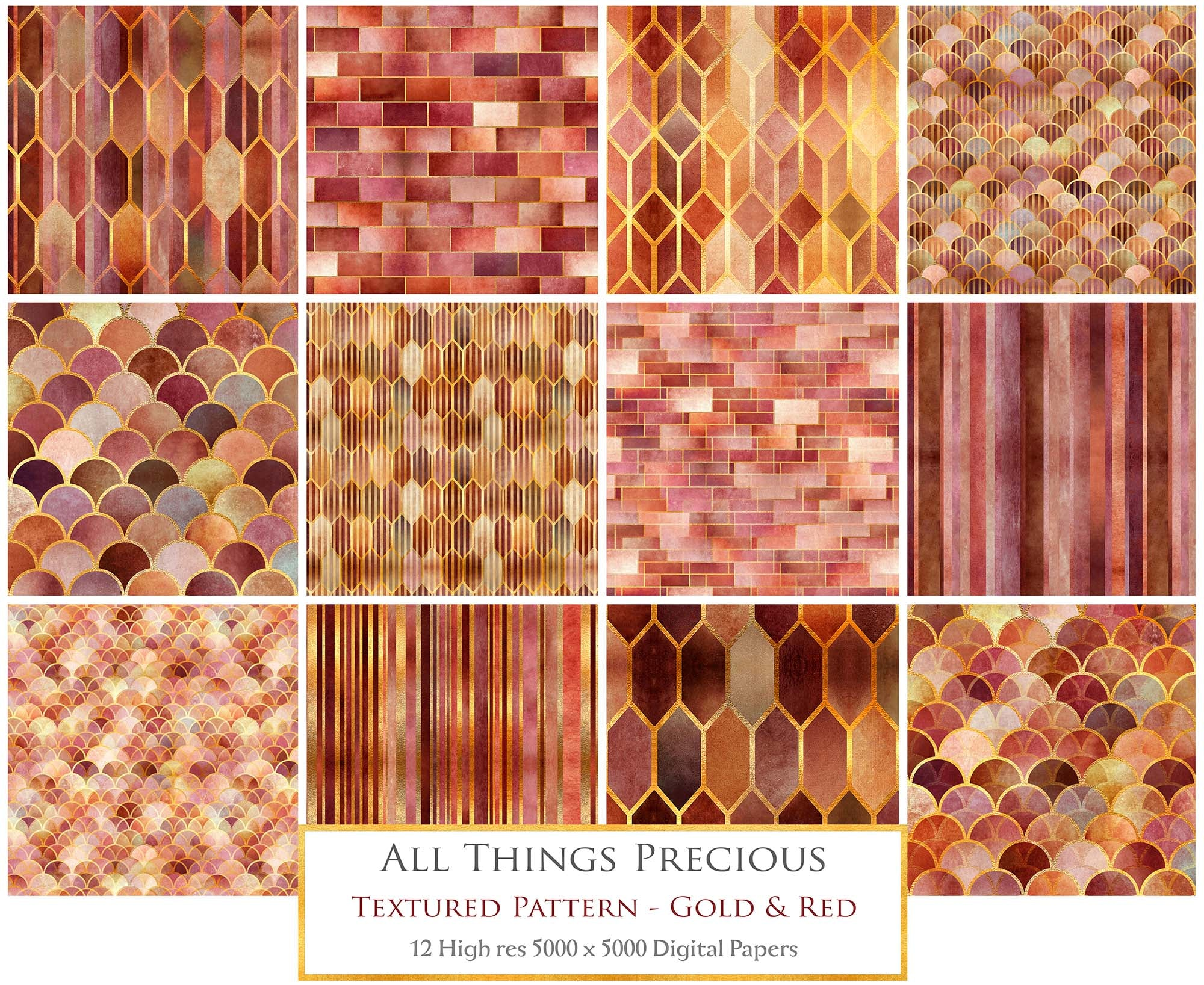 TEXTURED PATTERN Gold & Red - Digital Papers