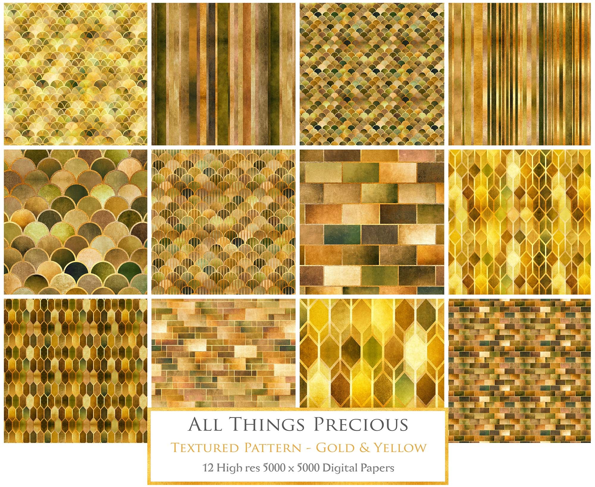 TEXTURED PATTERN Gold & Yellow - Digital Papers