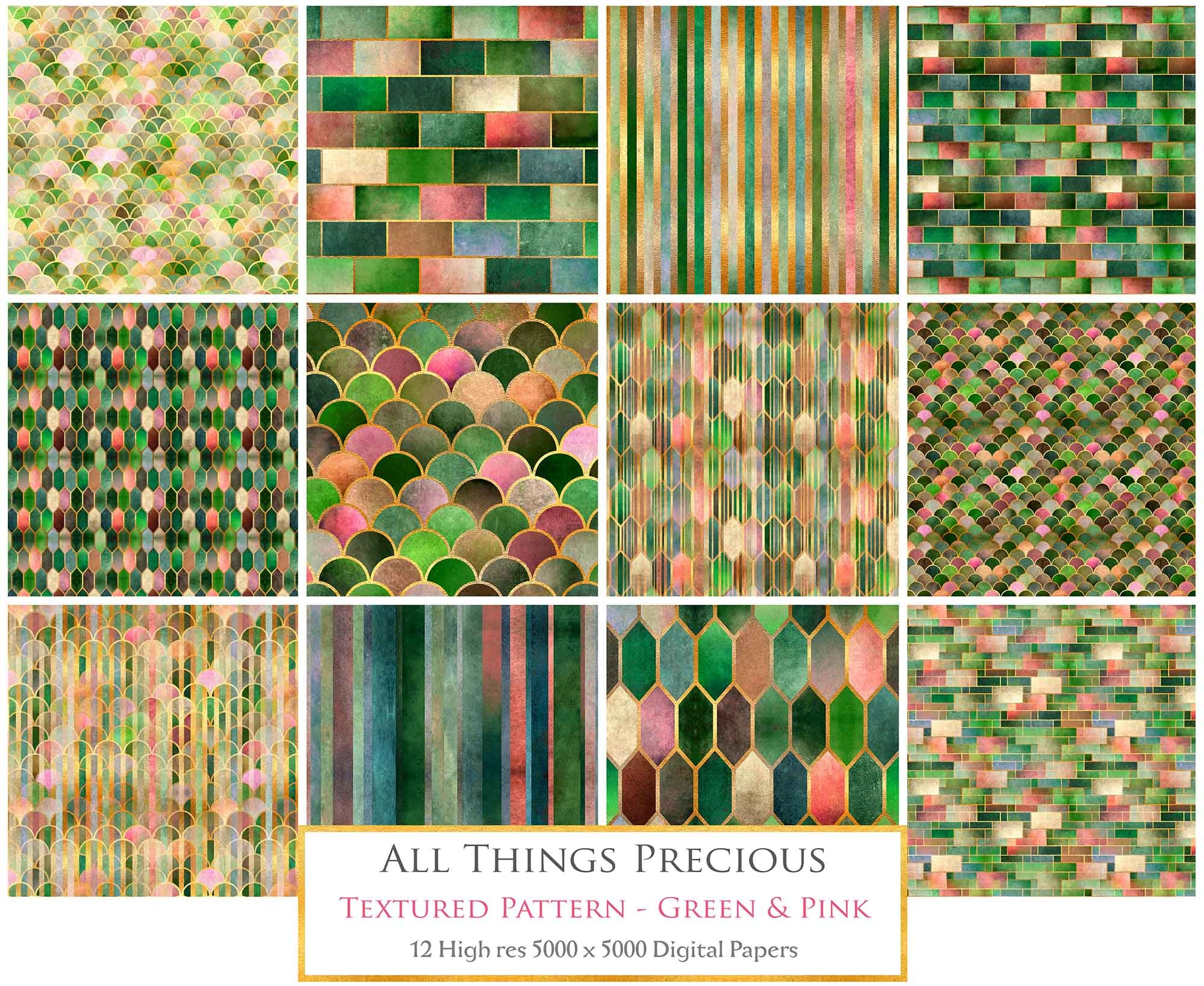 TEXTURED PATTERN - Gold, Green & Pink - Digital Papers