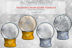 VALENTINE SNOW GLOBE  - Png Digital Overlays and PSD Template No.17