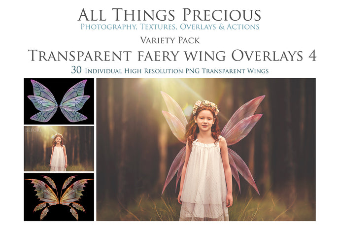 30 Png FAIRY WING Overlays - VARIETY PACK 4