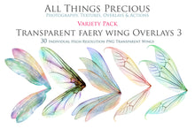 Load image into Gallery viewer, 35 Png TRANSPARENT FAIRY WING Overlays - VARIETY PACK 3