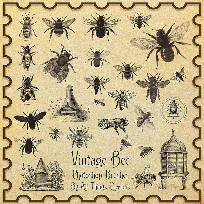 PHOTOSHOP BRUSHES - Vintage Bee - FREE DOWNLOAD