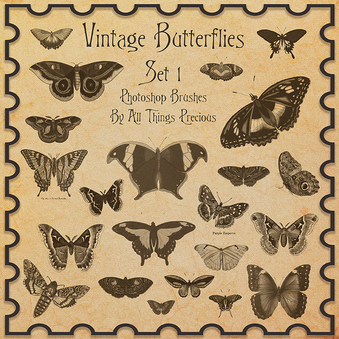 PHOTOSHOP BRUSHES - Vintage Butterflies Set 1 - FREE DOWNLOAD