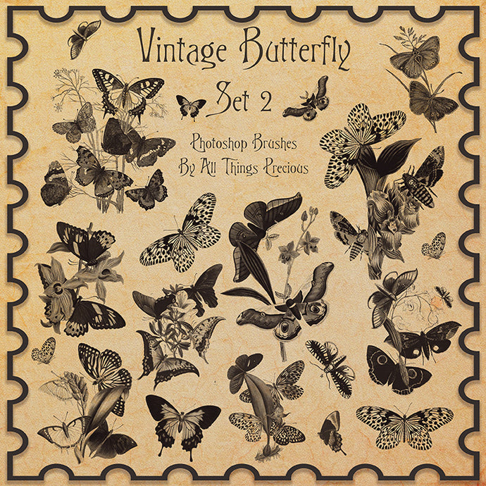 PHOTOSHOP BRUSHES - Vintage Butterflies Set 2 - FREE DOWNLOAD